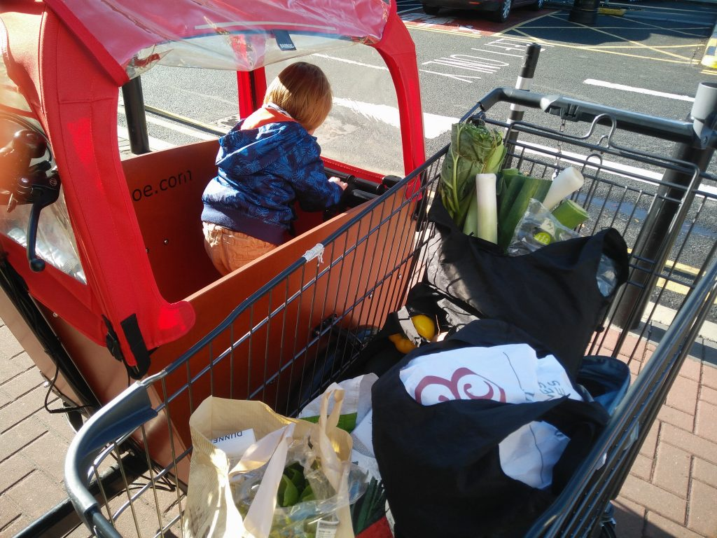 Shopping trolly full of groceries