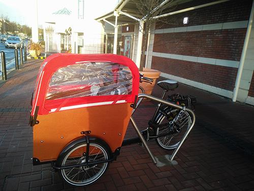 Babboe cargo bike parked outside Dunnes Stores, Cornelscourt, Dublin